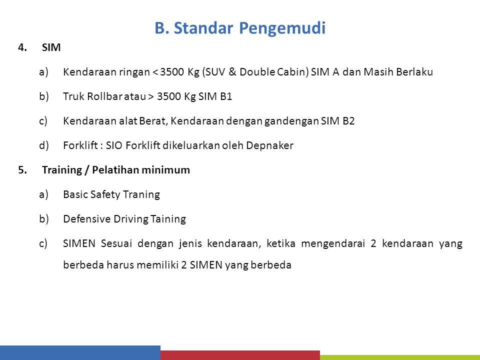 B. Standar Pengemudi SIM