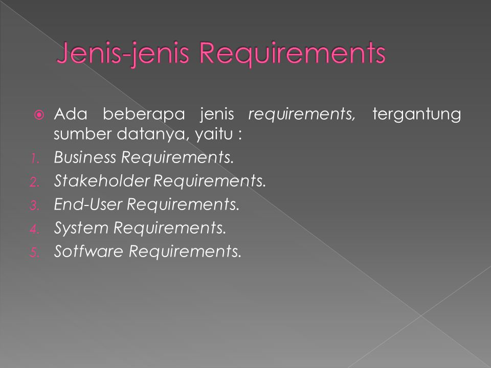 Jenis-jenis Requirements