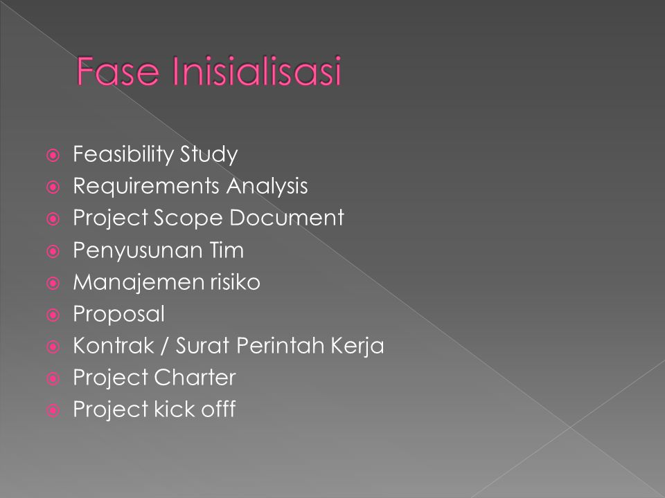 Fase Inisialisasi Feasibility Study Requirements Analysis