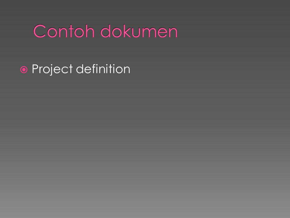 Contoh dokumen Project definition