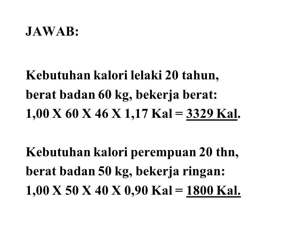 JAWAB: Kebutuhan kalori lelaki 20 tahun, berat badan 60 kg, bekerja berat: 1,00 X 60 X 46 X 1,17 Kal = 3329 Kal.