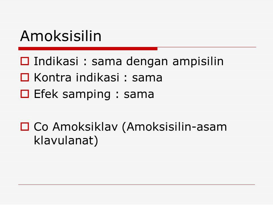 Amoksisilin Indikasi : sama dengan ampisilin Kontra indikasi : sama