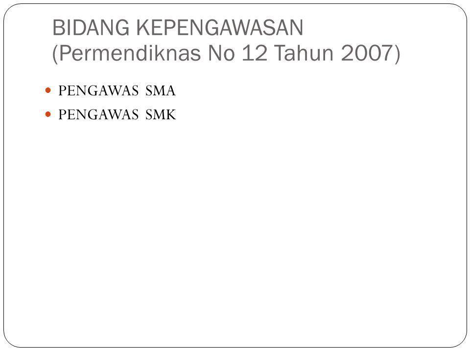 BIDANG KEPENGAWASAN (Permendiknas No 12 Tahun 2007)