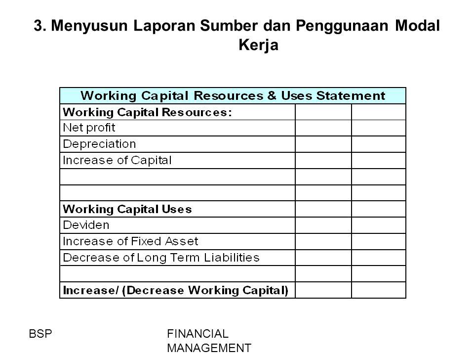 3. Menyusun Laporan Sumber dan Penggunaan Modal Kerja