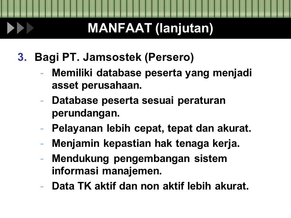 MANFAAT (lanjutan) Bagi PT. Jamsostek (Persero)