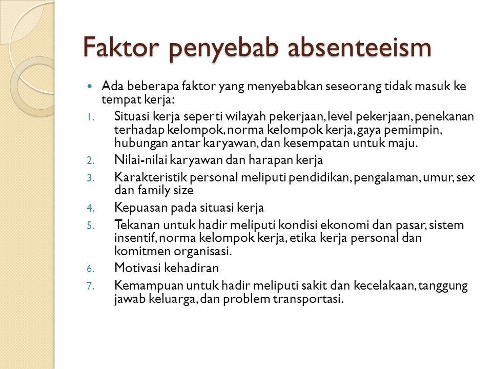 Faktor penyebab absenteeism