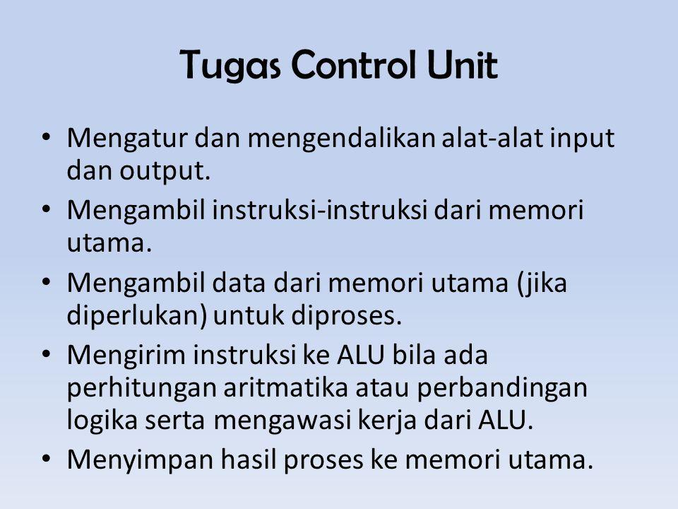 Tugas Control Unit Mengatur dan mengendalikan alat-alat input dan output. Mengambil instruksi-instruksi dari memori utama.