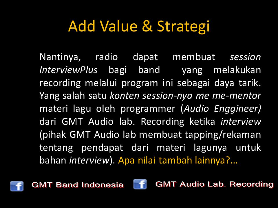 Add Value & Strategi