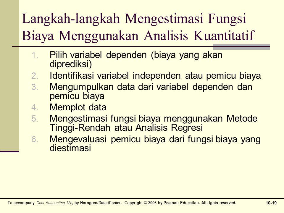 Langkah-langkah Mengestimasi Fungsi Biaya Menggunakan Analisis Kuantitatif