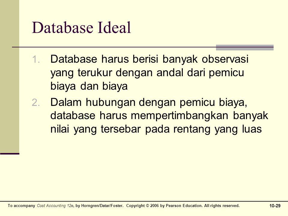 Database Ideal Database harus berisi banyak observasi yang terukur dengan andal dari pemicu biaya dan biaya.