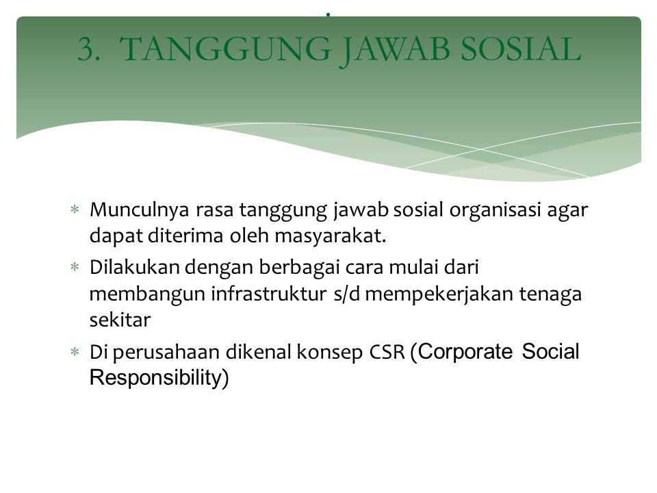 . 3. TANGGUNG JAWAB SOSIAL Munculnya rasa tanggung jawab sosial organisasi agar dapat diterima oleh masyarakat.
