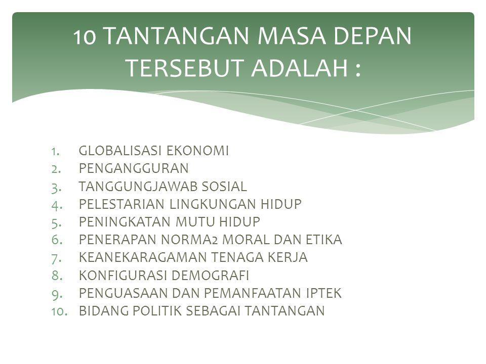 10 TANTANGAN MASA DEPAN TERSEBUT ADALAH :
