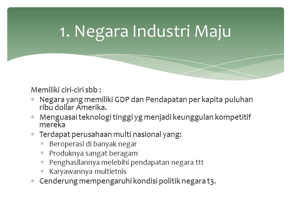 1. Negara Industri Maju Memiliki ciri-ciri sbb :