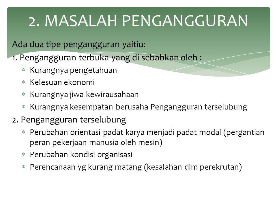2. MASALAH PENGANGGURAN Ada dua tipe pengangguran yaitiu: