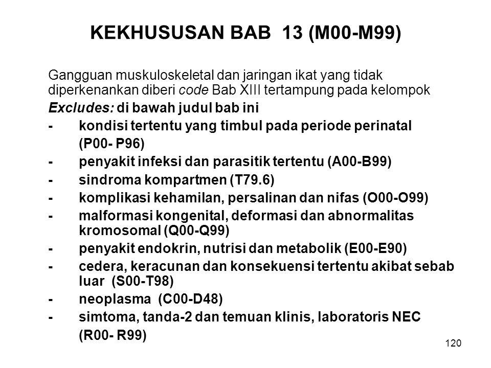 KEKHUSUSAN BAB 13 (M00-M99) Gangguan muskuloskeletal dan jaringan ikat yang tidak diperkenankan diberi code Bab XIII tertampung pada kelompok.