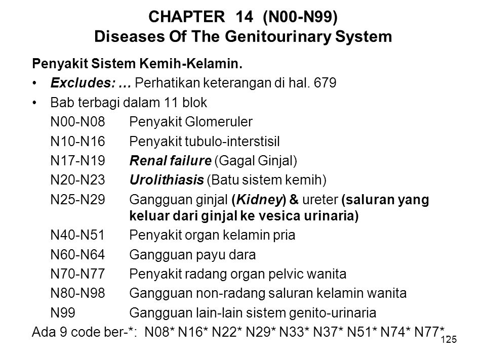 CHAPTER 14 (N00-N99) Diseases Of The Genitourinary System