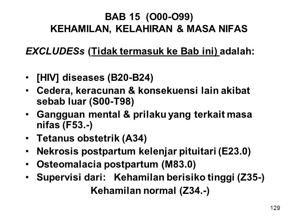 BAB 15 (O00-O99) KEHAMILAN, KELAHIRAN & MASA NIFAS