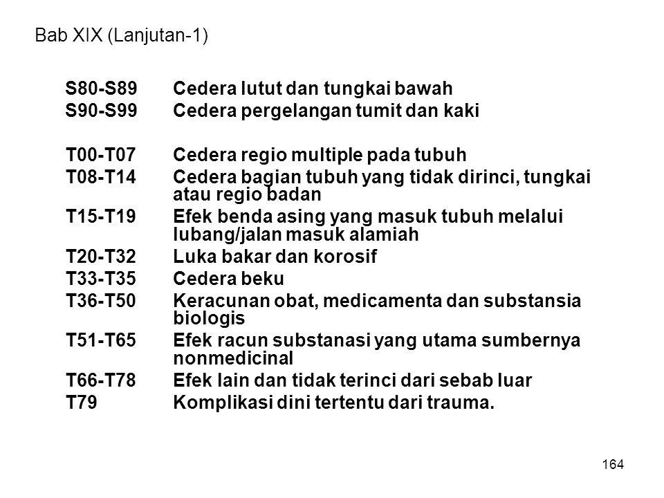 Bab XIX (Lanjutan-1) S80-S89 Cedera lutut dan tungkai bawah. S90-S99 Cedera pergelangan tumit dan kaki.