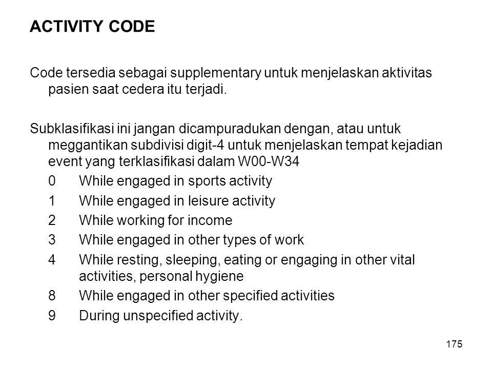 ACTIVITY CODE Code tersedia sebagai supplementary untuk menjelaskan aktivitas pasien saat cedera itu terjadi.