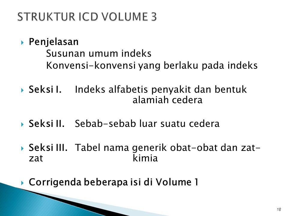 STRUKTUR ICD VOLUME 3 Penjelasan Susunan umum indeks