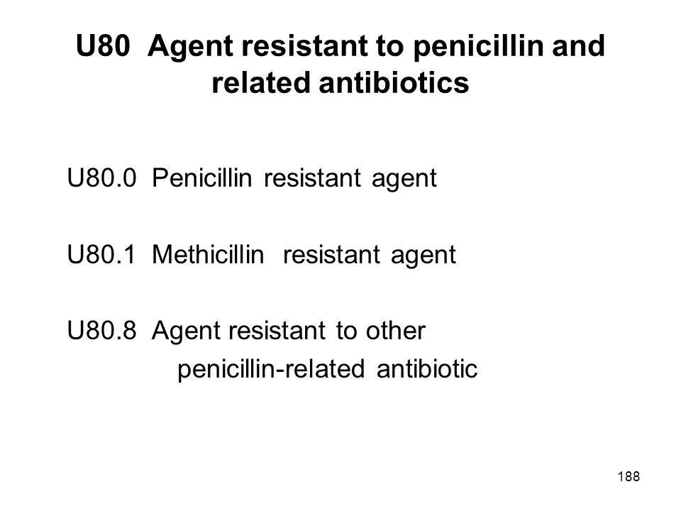 U80 Agent resistant to penicillin and related antibiotics