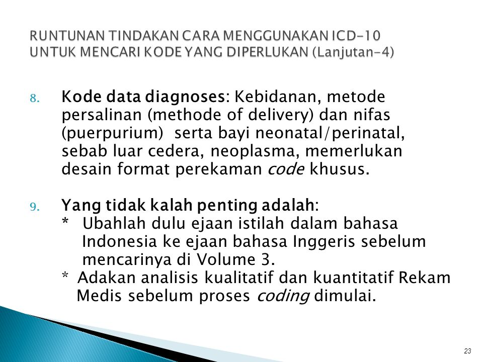 Kode data diagnoses: Kebidanan, metode
