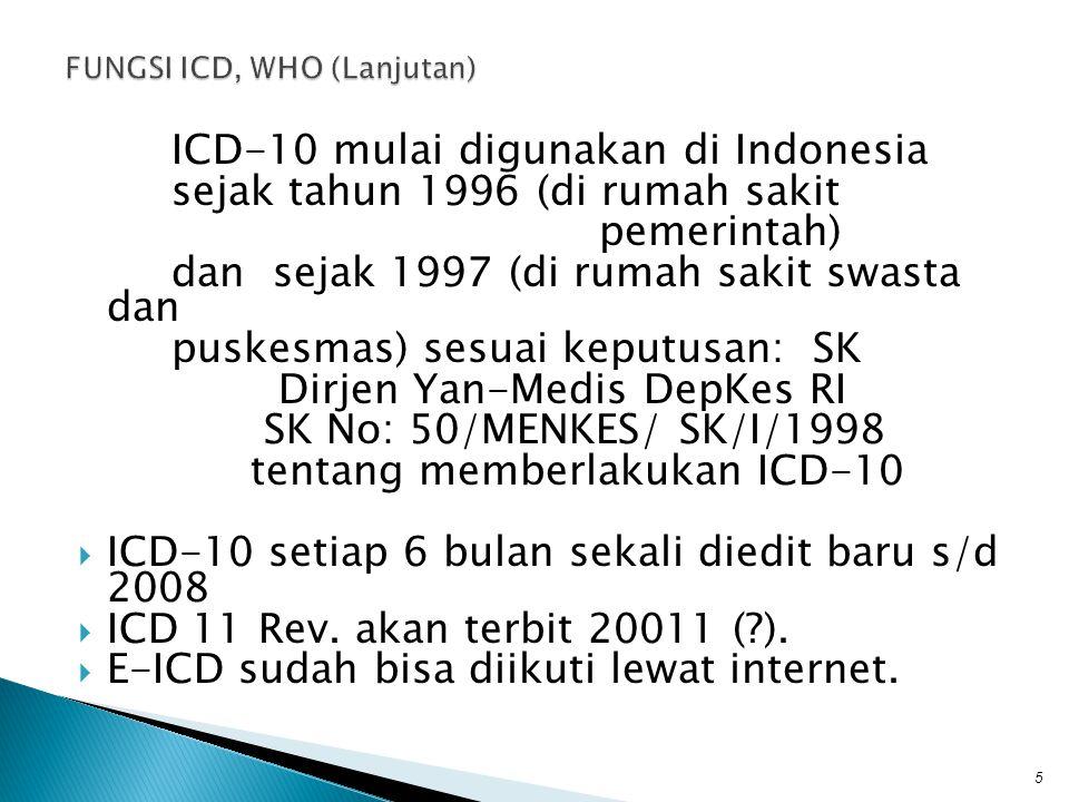 FUNGSI ICD, WHO (Lanjutan)