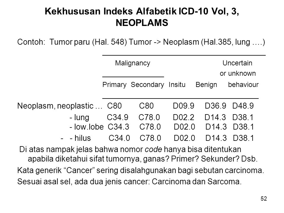 Kekhususan Indeks Alfabetik ICD-10 Vol, 3, NEOPLAMS