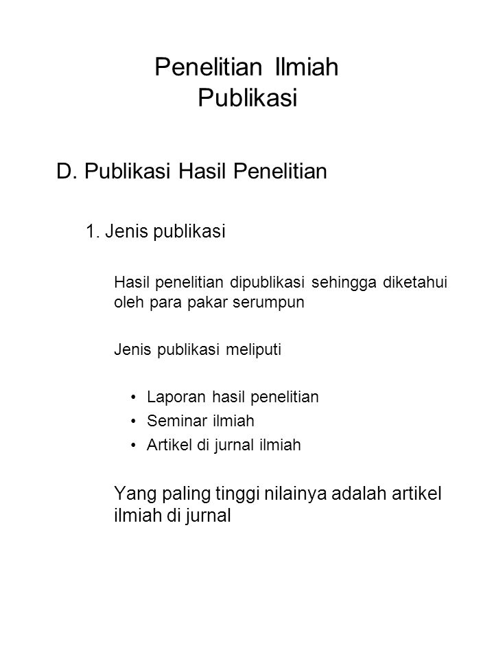 Penelitian Ilmiah Publikasi