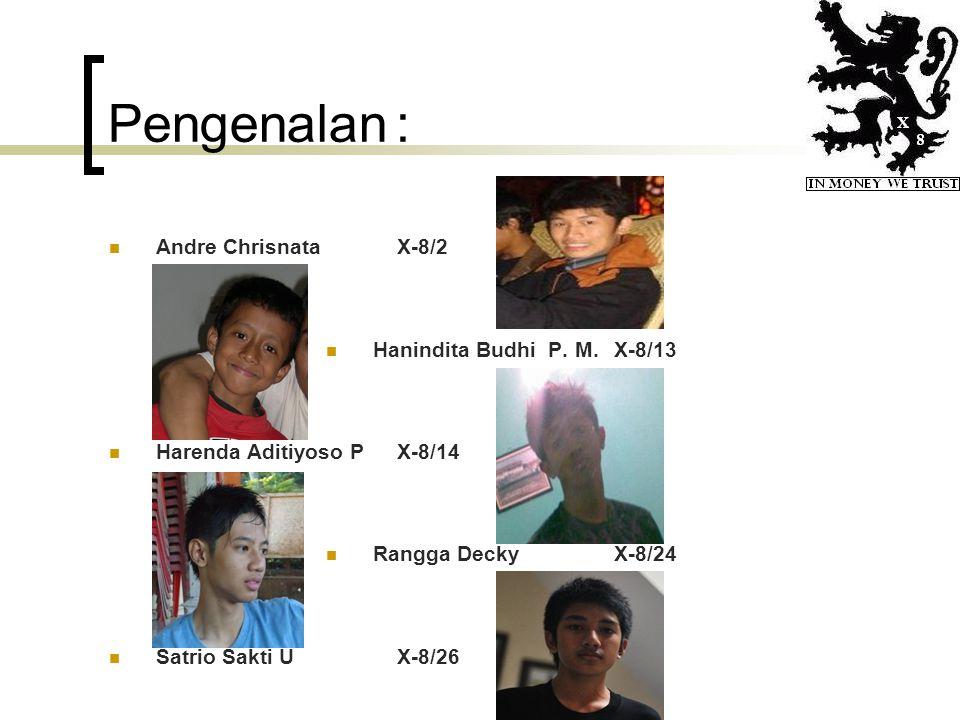 Pengenalan : Andre Chrisnata X-8/2 Hanindita Budhi P. M. X-8/13