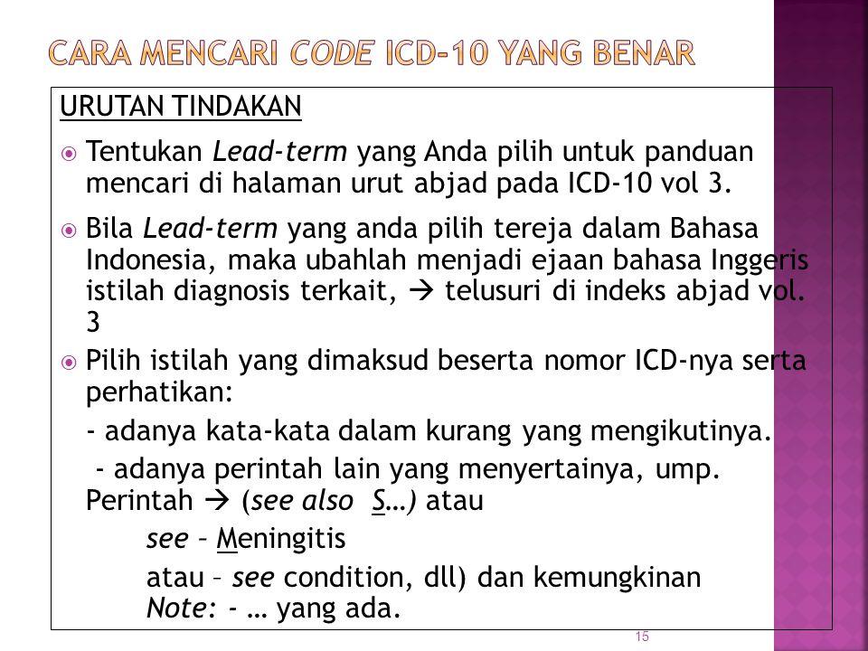 CARA MENCARI CODE ICD-10 yang BENAR