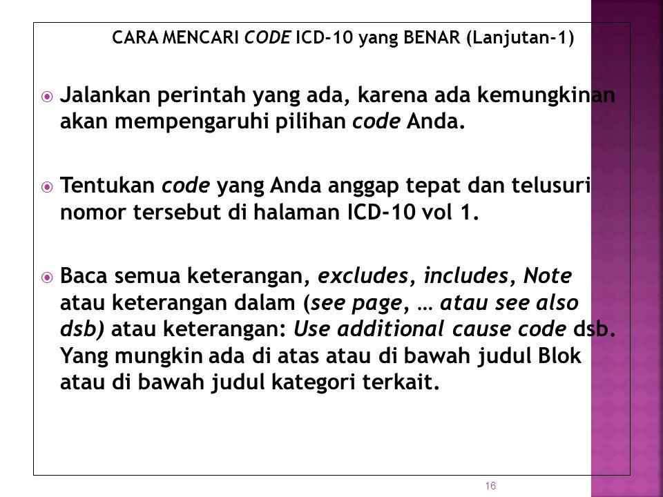 CARA MENCARI CODE ICD-10 yang BENAR (Lanjutan-1)
