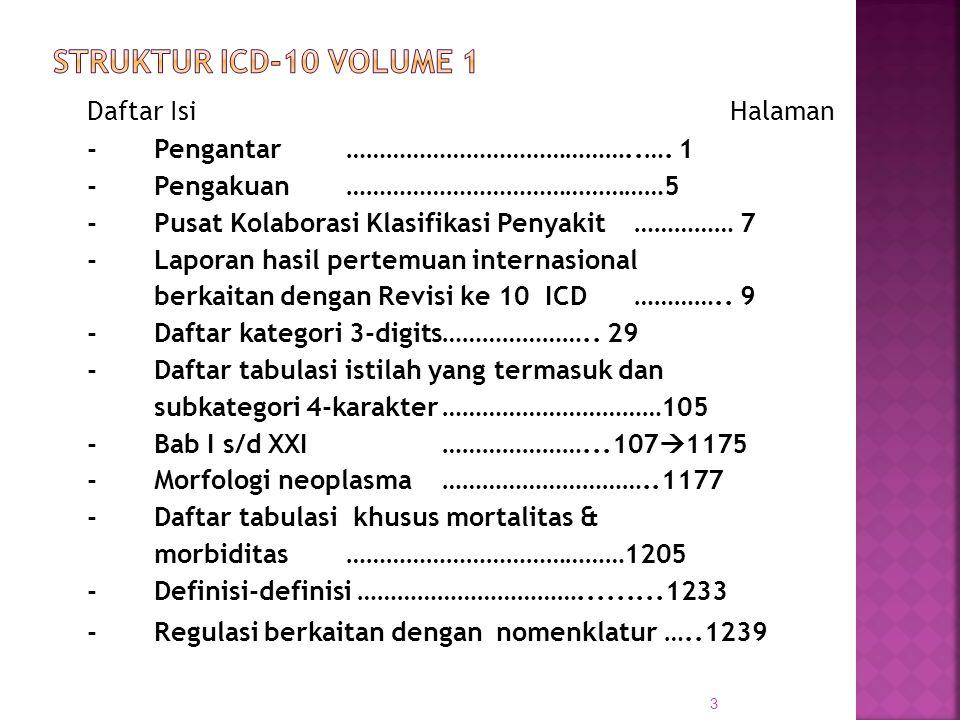 STRUKTUR ICD-10 Volume 1 Daftar Isi Halaman