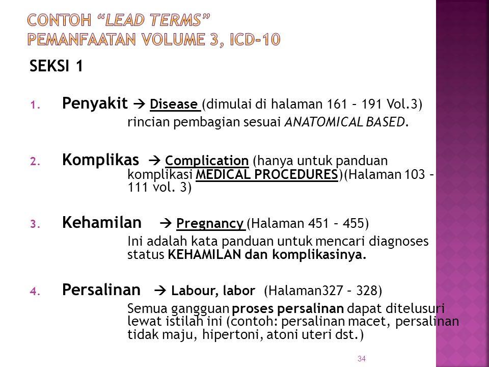 CONTOH LEAD TERMS PEMANFAATAN VOLUME 3, ICD-10