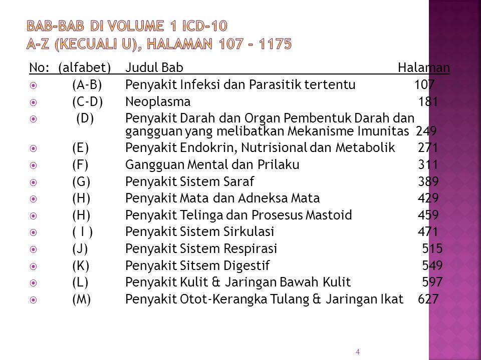 Bab-Bab di Volume 1 ICD-10 A-Z (kecuali U), halaman 107 - 1175