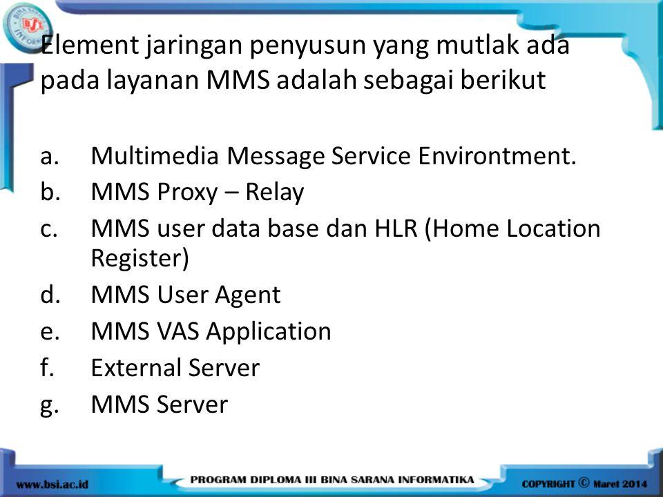 Element jaringan penyusun yang mutlak ada pada layanan MMS adalah sebagai berikut