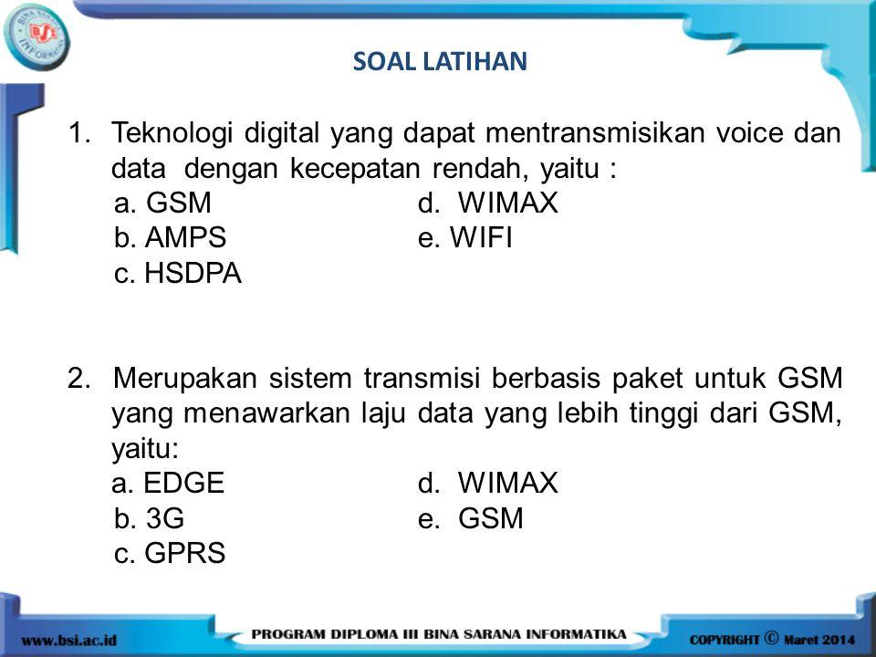 SOAL LATIHAN 1. Teknologi digital yang dapat mentransmisikan voice dan data dengan kecepatan rendah, yaitu :
