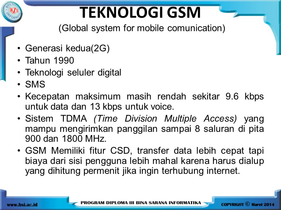 TEKNOLOGI GSM (Global system for mobile comunication)