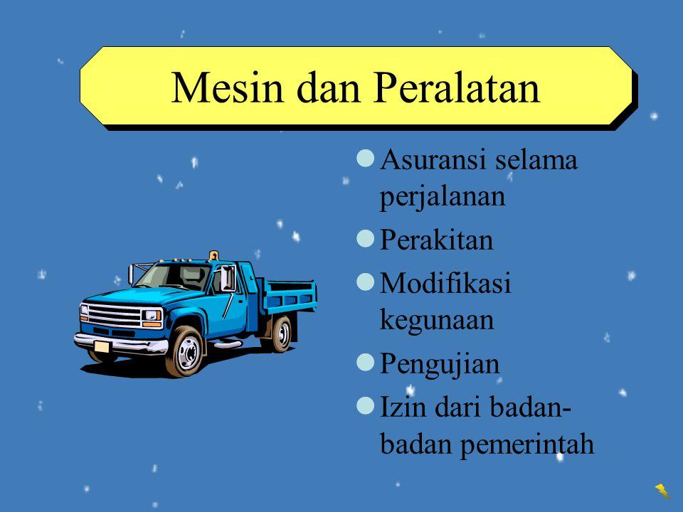 Mesin dan Peralatan Asuransi selama perjalanan Perakitan
