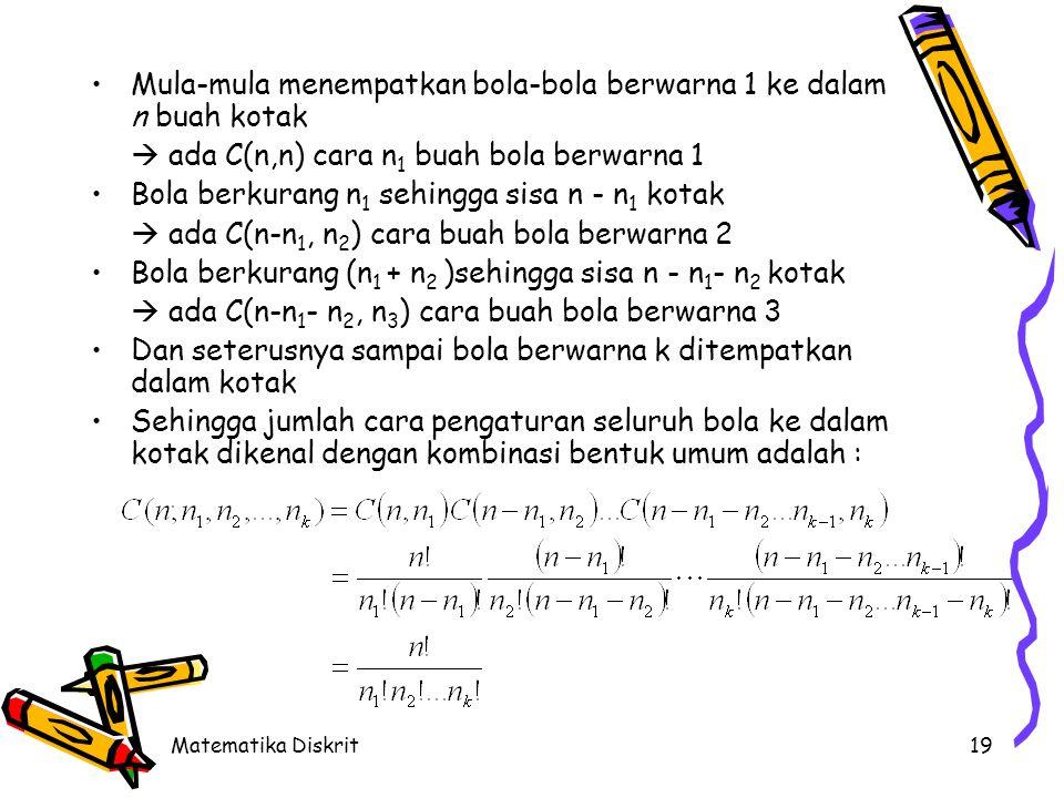 Jika S adalah himpunan ganda dengan n buah objek yang di dalamnya terdiri dari k jenis objek berbeda dan tiap objek memiliki multiplisitas n1, n2, … ,nk (jumlah objek seluruhnya n1 + n2 + … + nk = n) maka jumlah cara menyusun seluruh objek adalah :