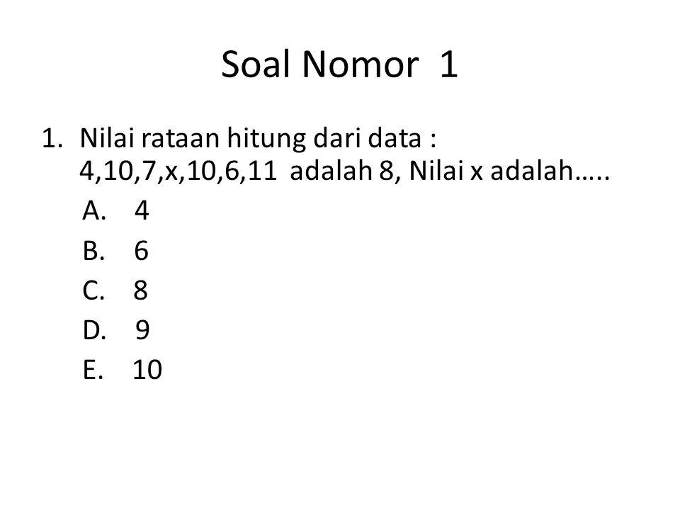 Soal Nomor 1 Nilai rataan hitung dari data : 4,10,7,x,10,6,11 adalah 8, Nilai x adalah….. A. 4.