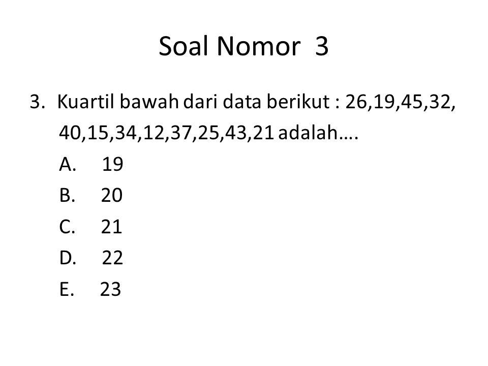 Soal Nomor 3 Kuartil bawah dari data berikut : 26,19,45,32,