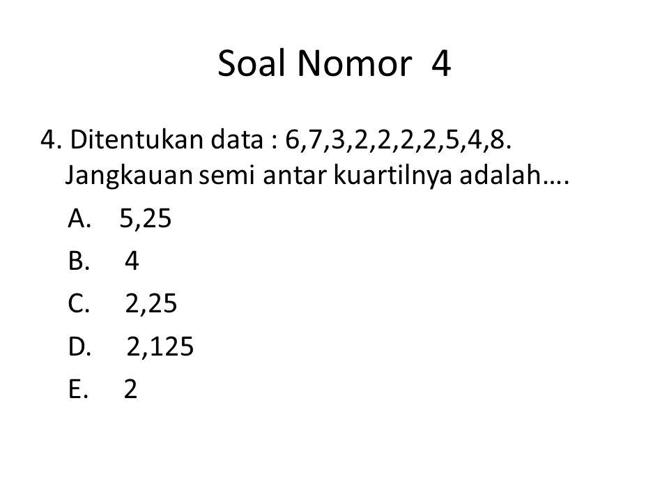 Soal Nomor 4 4. Ditentukan data : 6,7,3,2,2,2,2,5,4,8.