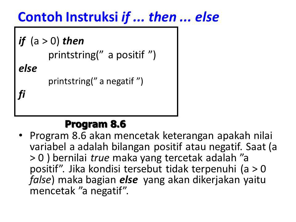 Contoh Instruksi if ... then ... else