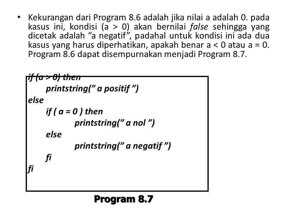 Kekurangan dari Program 8. 6 adalah jika nilai a adalah 0