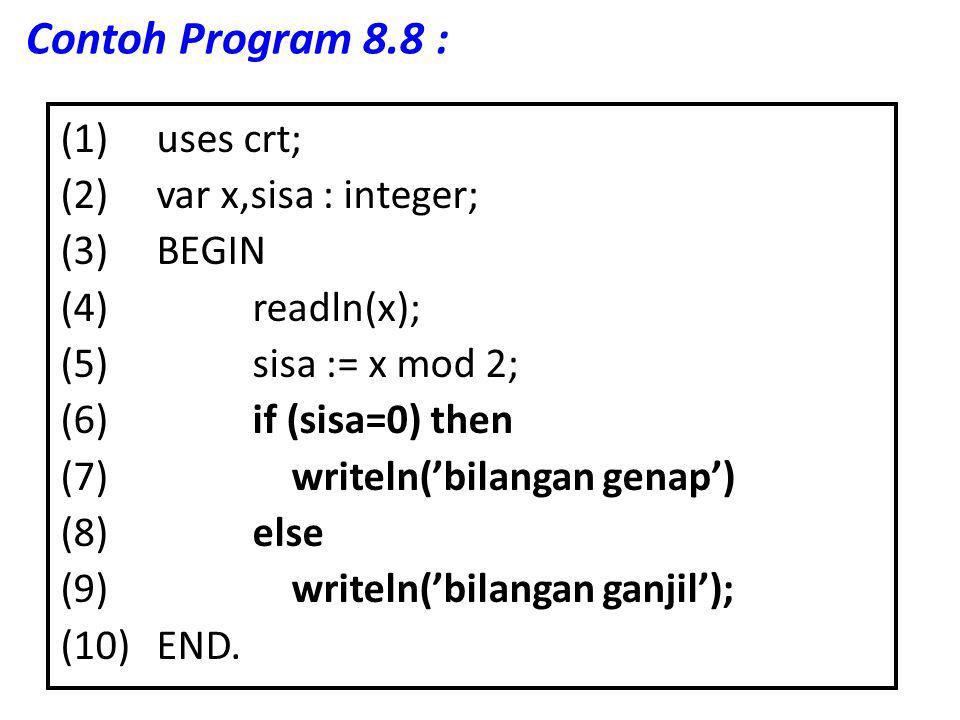 Contoh Program 8.8 :
