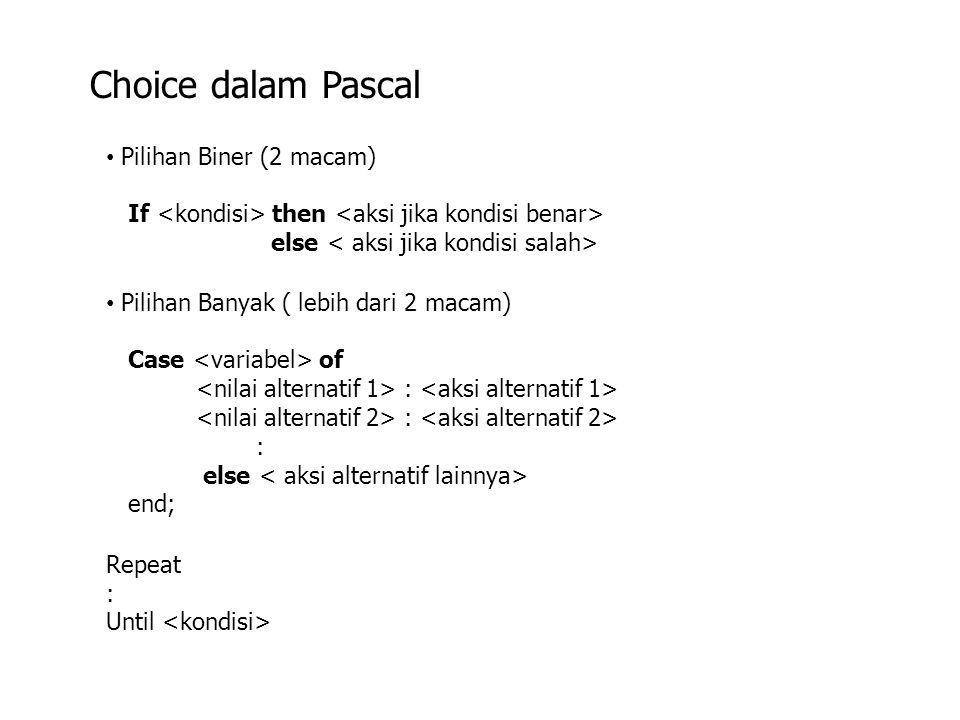 Choice dalam Pascal Pilihan Biner (2 macam)