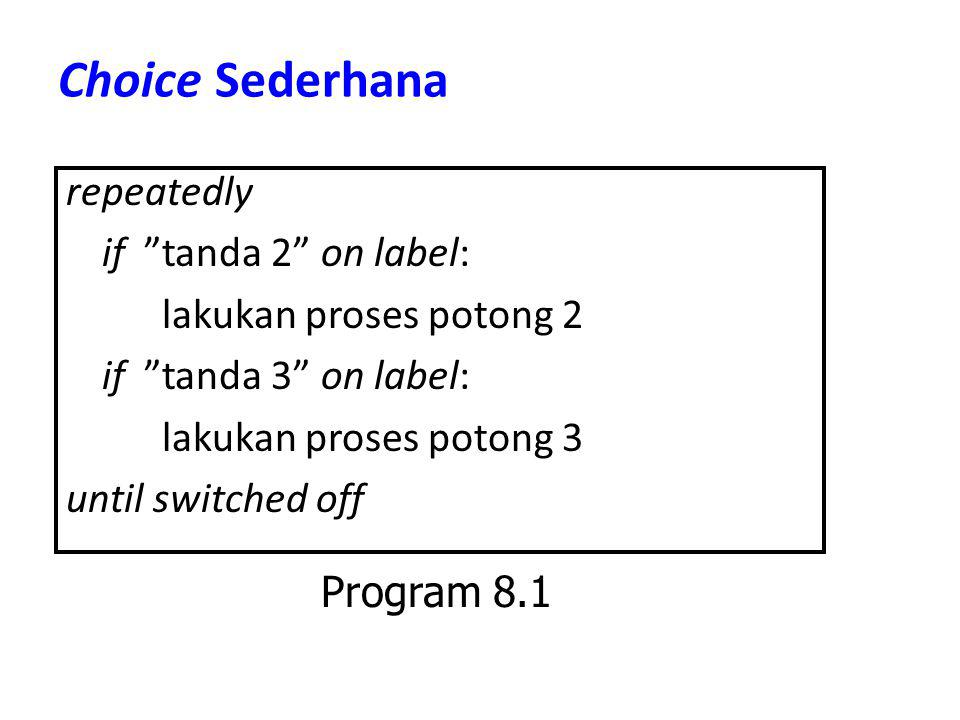 Choice Sederhana repeatedly if tanda 2 on label: lakukan proses potong 2 if tanda 3 on label: lakukan proses potong 3 until switched off