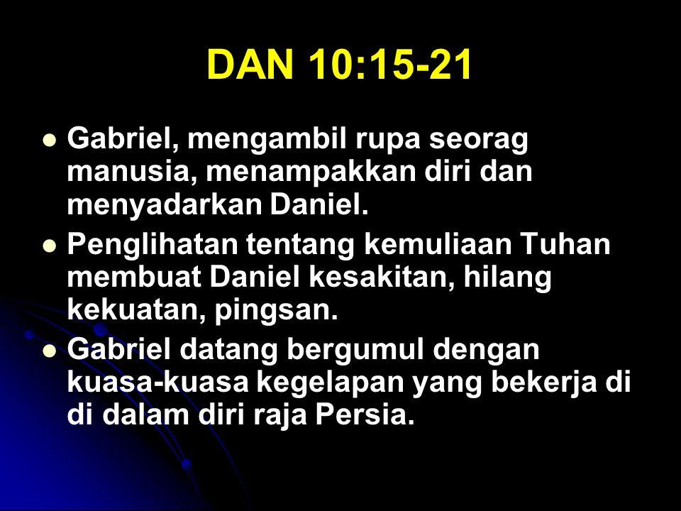 DAN 10:15-21 Gabriel, mengambil rupa seorag manusia, menampakkan diri dan menyadarkan Daniel.
