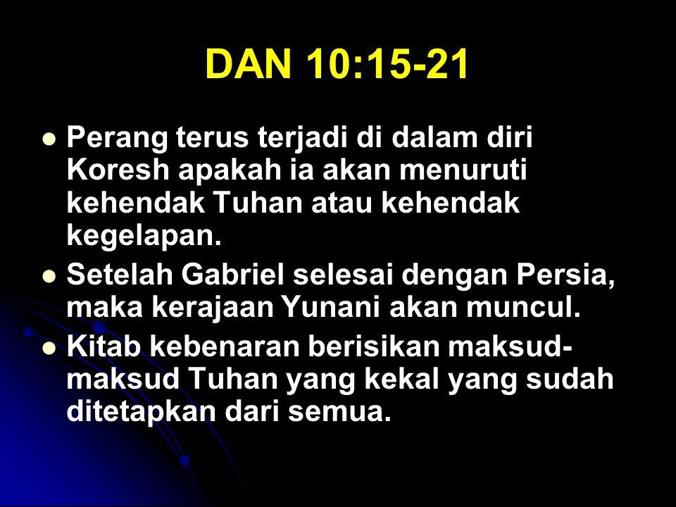 DAN 10:15-21 Perang terus terjadi di dalam diri Koresh apakah ia akan menuruti kehendak Tuhan atau kehendak kegelapan.